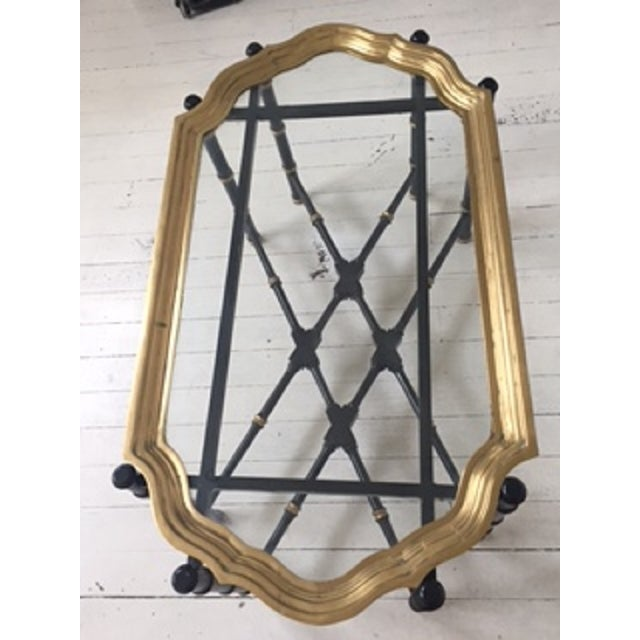 Hollywood Regency Brass & Faux Bamboo Coffee Table For Sale - Image 4 of 5