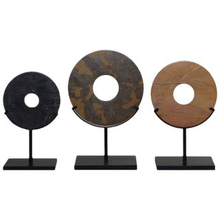 Marble Discs on Custom Metal Stands - Set of 3 For Sale