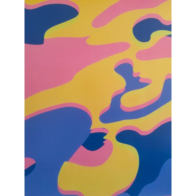 """Lithograph Andy Warhol Original Lithograph Pop Art Poster """"Pink Camouflage"""" 1987 For Sale - Image 7 of 10"""