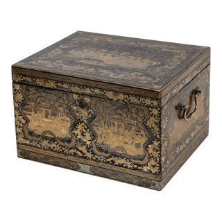 Chinese Export Tea Chest Caddy Chinoiserie Gilt For Sale