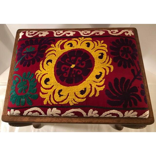 20th Century Persian Uzbek Suzani Stool Bench For Sale - Image 4 of 9