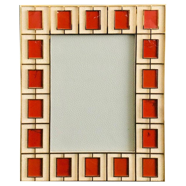 Shagreen With Red Jasper Photo Frame by Fabio Ltd For Sale