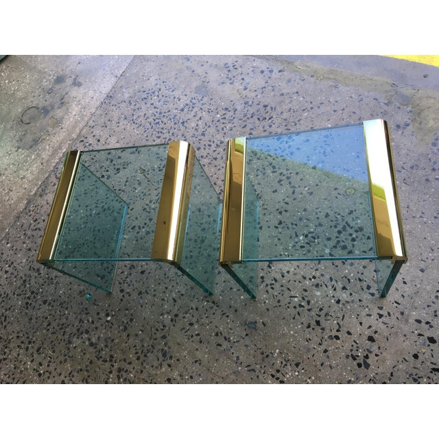 Pace Collection Brass & Glass End Tables- A Pair - Image 4 of 8