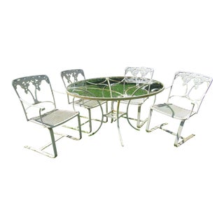 Mid-Century Salterini Morning Glory Wrought and Cast Iron Outdoor Dining Set- 5 Pieces For Sale