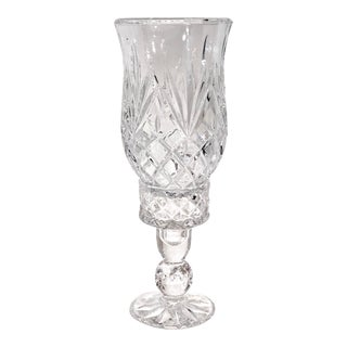 Cut Crystal Hurricane Cut Glass Transparent 2 Piece Candle Holder For Sale