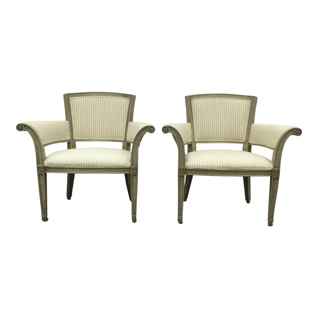 Antique Flare Arm Chairs in Rose Tarlow Fabric - A Pair - Image 1 of 8