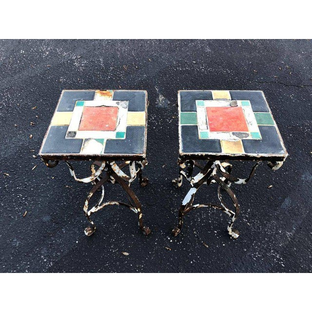 Arts & Crafts Vintage Iron Tile Top Tables - a Pair For Sale - Image 3 of 10
