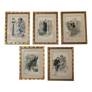 "Framed Antique ""Stages of Courtship & Marriage"" Postcards, F. Blee, 1912 - Set of 5 For Sale"