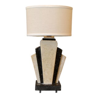 Petite Art Deco Italian Marble Bedside Table Lamp With Oval Shade For Sale