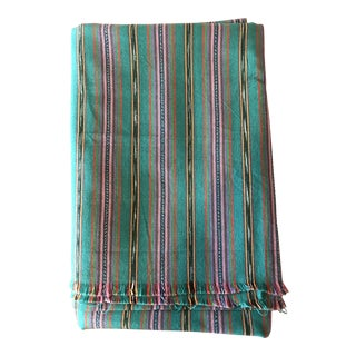 Teal Striped Fabric Guatemala