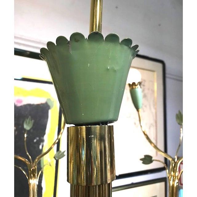 Arredoluce 1950s Brass and Green Enamel Chandelier by Angelo Lelli For Sale - Image 9 of 11
