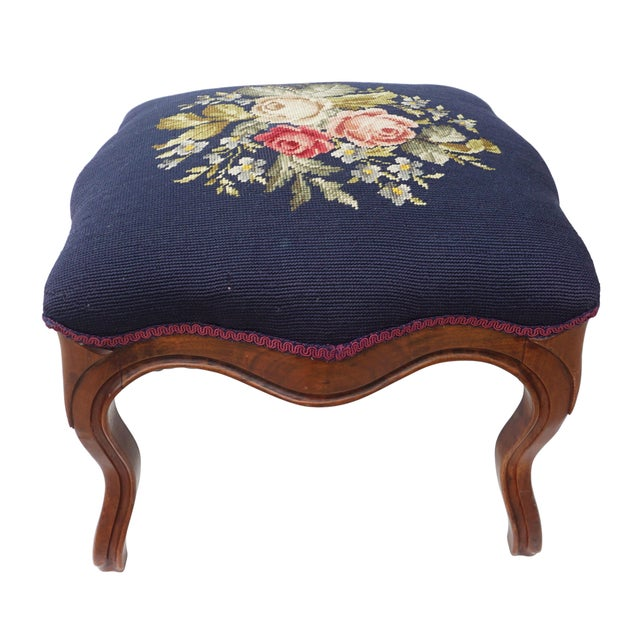 Ottomans, Footstools & Poufs Nice Vintage Hand Painted Reupholstered Small Footstool With Queen Anne Legs