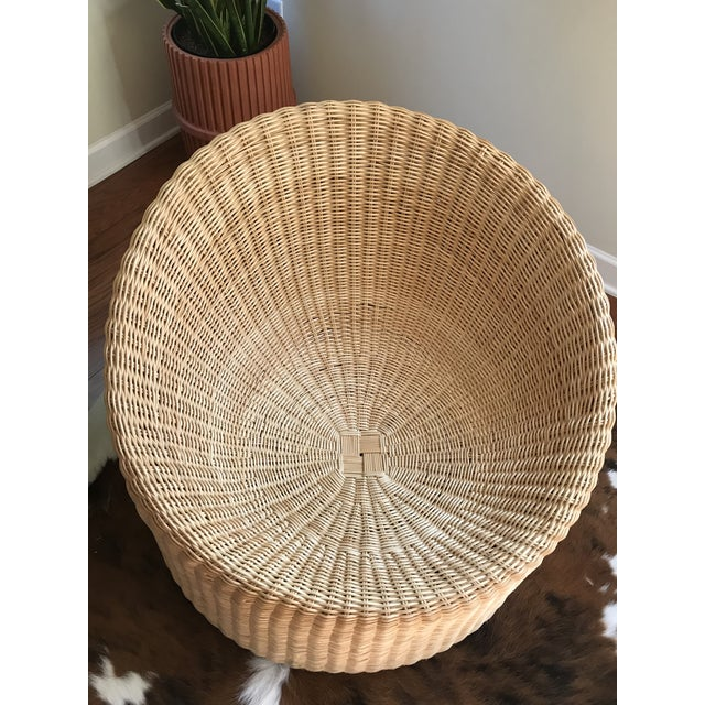 Wicker Eero Aarnio Mid Century Modern Wicker Lounge Chair and Ottoman For Sale - Image 7 of 11