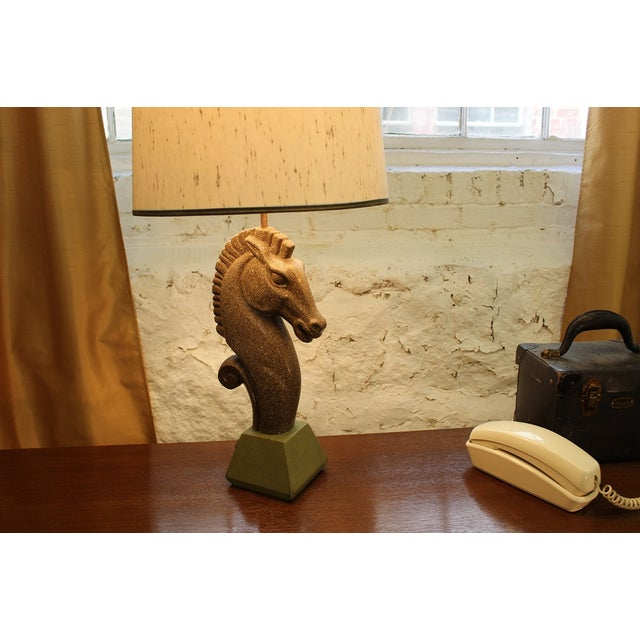 Neoclassical Equestrian Ceramic Lamp and Shade For Sale - Image 3 of 8