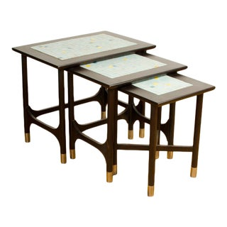 1960s Mid-Century Modern Nesting Tables With Tile Inserts - Set of 3 For Sale