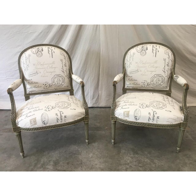 French Antique Painted Armchairs - a Pair For Sale - Image 11 of 13