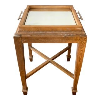 Rustic Bleached Mahogany Designer Mirrored Tray Side Table For Sale
