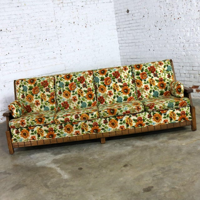 Incredible Ranch Oak western style sofa attributed to A. Brandt Company. This sofa is in wonderful vintage condition with...