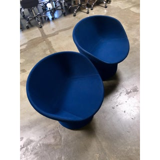 Avalon by Swedese Blue Circular Swivel Chairs - a Pair Preview