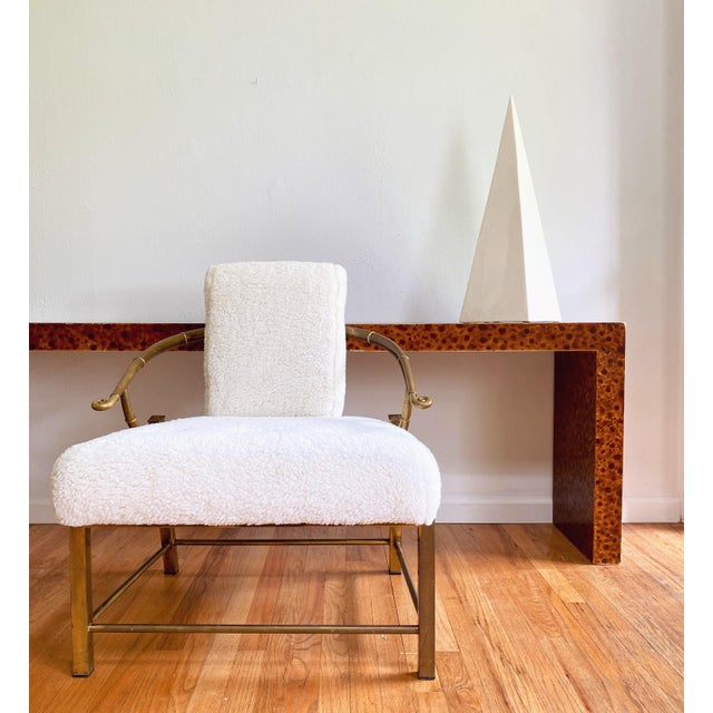 """Beautiful patina on this brass frame """"empress"""" lounge chair, manufactured by Mastercraft circa 1970s. Brand new foam and..."""