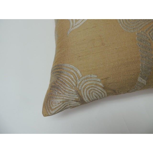 """Pair of Golden silk embroidery """"Royal Palm"""" silk decorative pillows with golden solid silk backing. New Production Fabric..."""