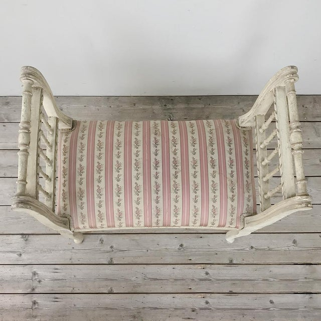 White 19th Century French Painted Louis XVI Armbench ~ Banquette For Sale - Image 8 of 12