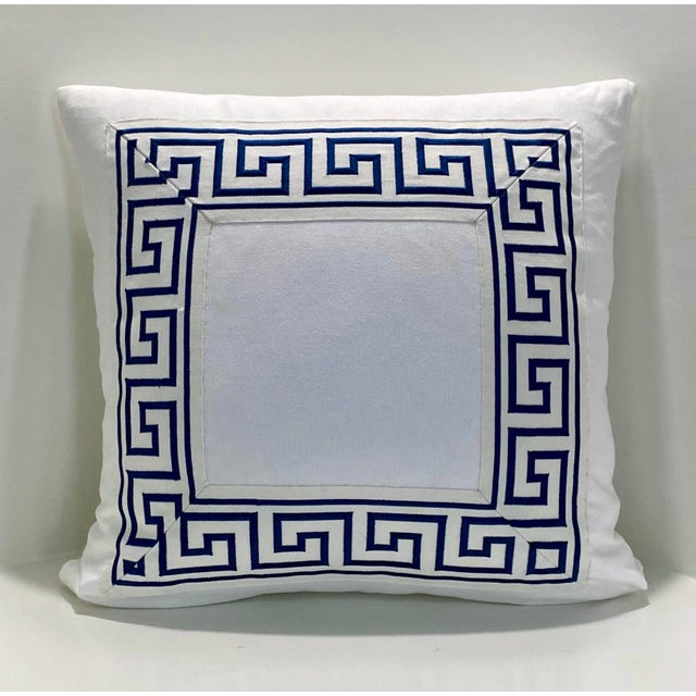 """Contemporary Square Custom Made White With Navy Greek Key Trim Pillow - 21"""" For Sale In Houston - Image 6 of 7"""