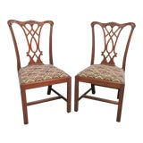 Image of Henkel Harris Mahogany Chippendale Dining Chairs - a Pair For Sale