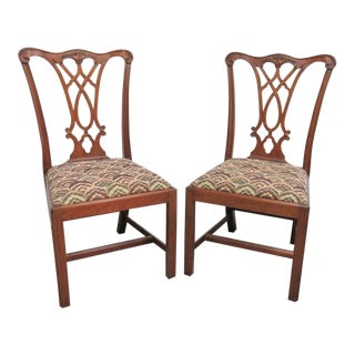 Henkel Harris Mahogany Chippendale Dining Chairs - A Pair For Sale
