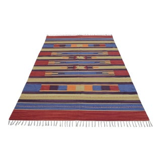 Indian Style Hand-Woven Kilim Rug - 5′5″ x 8′1″ For Sale