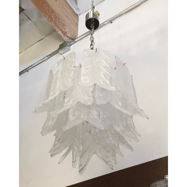 Vintage chandelier with layered Murano glass leaf petals made with Graniglia finish on nickel frame / Designed by Mazzega...