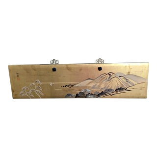 Vintage Handpainted Japanese Wood Panel Landscape Mountain Scene For Sale