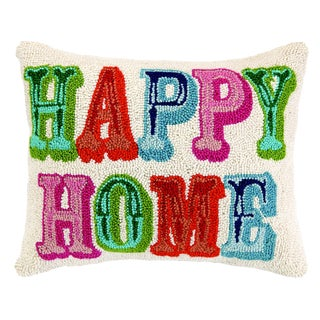 Happy Home Hooked Wool Pillow For Sale