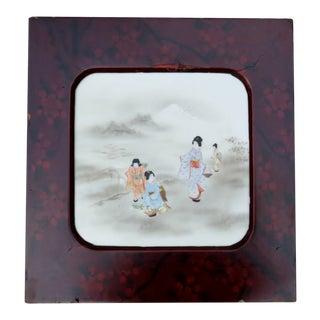 Vintage Japanese Painted Tile, Framed For Sale