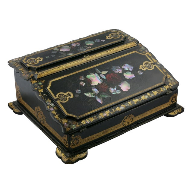 Mid 19th Century Vintage Victorian Papier Mâché Painted Inlaid Lap Desk For Sale In Charleston - Image 6 of 6