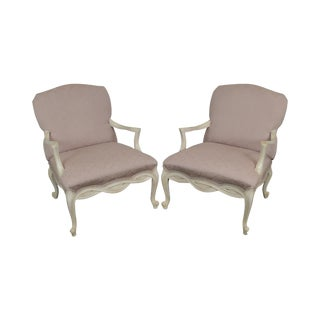 French Louis XV Style Custom Pair of Paint Frame Fauteuils Lounge Chairs For Sale