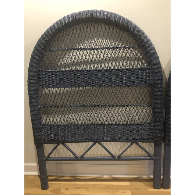 Vintage French Blue Wicker Twin Headboards - a Pair For Sale - Image 4 of 11
