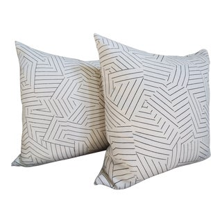 "Custom Schumacher Deconstructed Stripe Double Sided 20"" Pillows, a Pair For Sale"