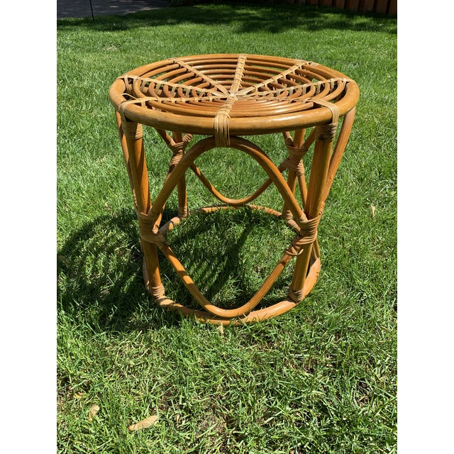 Vintage Boho Round Rattan & Bamboo Side Table / Plant Stand For Sale - Image 9 of 9