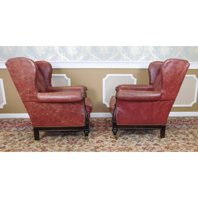 Lillian August Leather Wing Back Armchairs - A Pair - Image 7 of 10