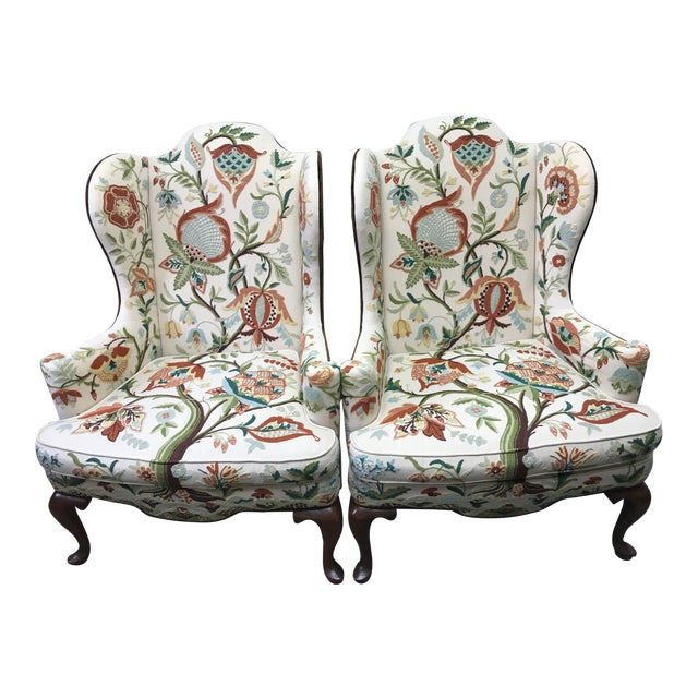 1976 Boho Chic Woodmark Crewel Wingback Arm Chairs - a Pair For Sale