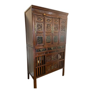 19th Century Two-Part Chinese Elmwood Kitchen Cabinet For Sale