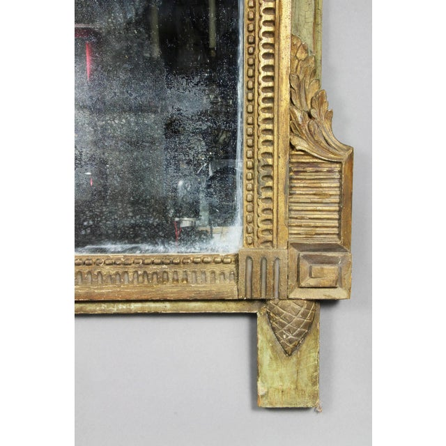 Late 18th Century Louis XVI Giltwood and Green Painted Mirror For Sale - Image 5 of 7