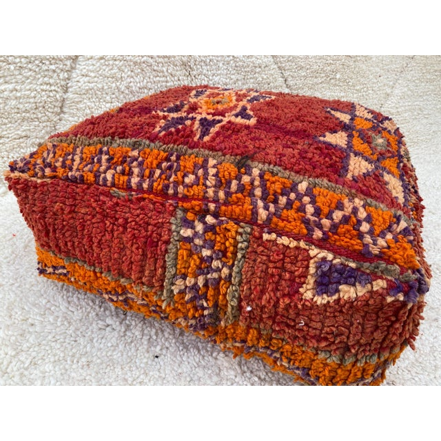 Textile Moroccan Red Unstuffed Pouf For Sale - Image 7 of 13