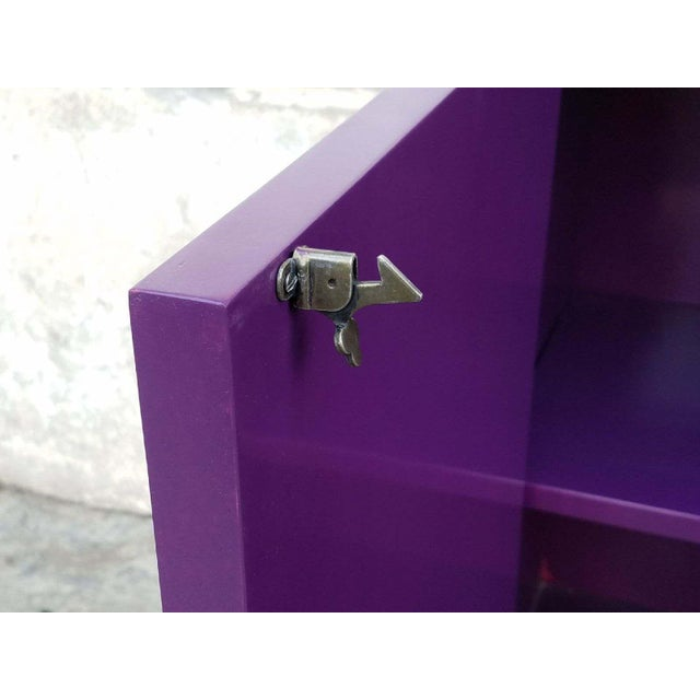 Hollywood Regency Deep Purple Vintage Lacquered Bar Cabinet - Image 5 of 8