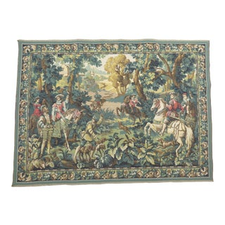 """Vintage Belgium Tapestry by Ter Waes Ltd of Hunting Scene - """"Hawking With Emperor Maximilian"""" For Sale"""