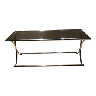 1970s Art Deco Chrome X Base Console Table For Sale