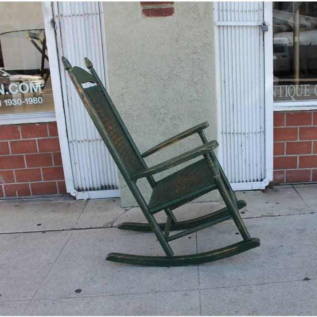 Early 20th Century Original Green Painted Rocking Chair - Image 5 of 7
