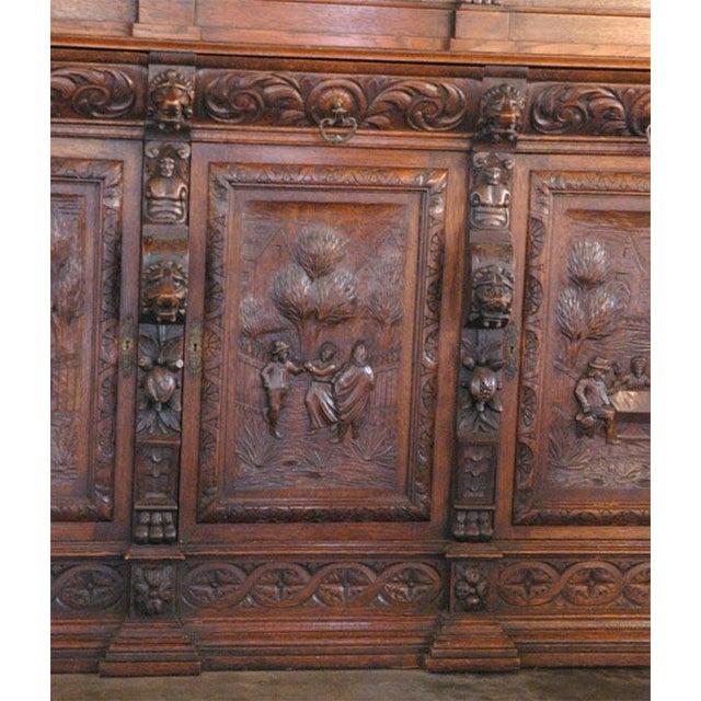 Large Carved Oak Six Door Bookcase For Sale - Image 4 of 5