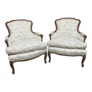 Louis XV Style Walnut Bergeres- a Pair For Sale